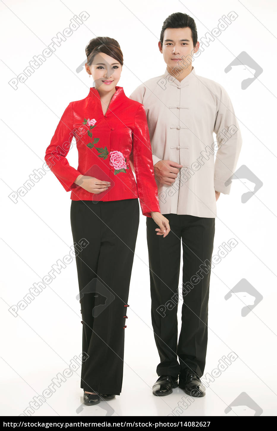 wearing, chinese, clothing, waiter, in, front - 14082627