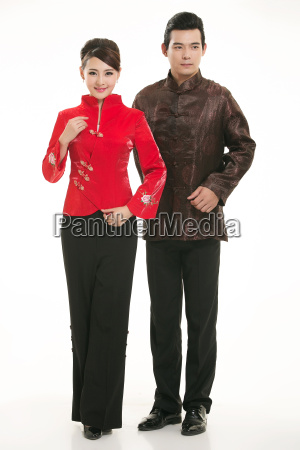 wearing, chinese, clothing, waiter, in, front - 14082647