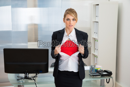 businesswoman, showing, superhero, costume - 14083543