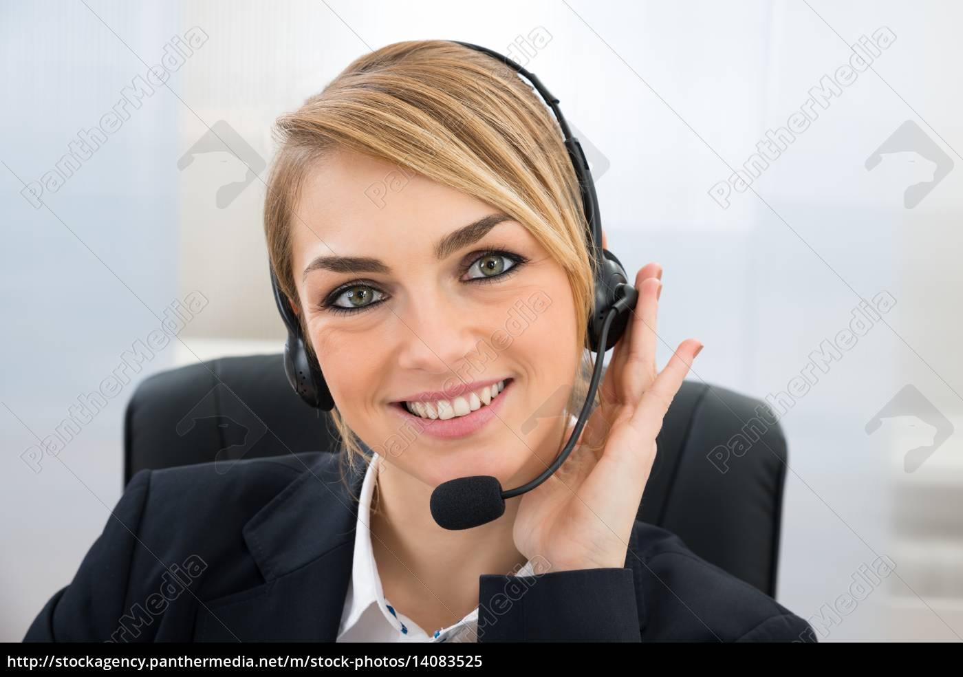 smiling, female, customer, service, representative - 14083525