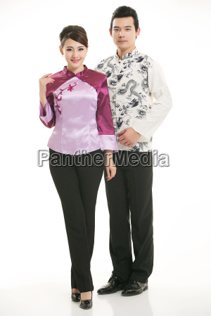 service staff, cotton wadded short gown, cotton wadded undercoat, cottonpadded jacket, greet guests, traditional chinese garments - 14084899