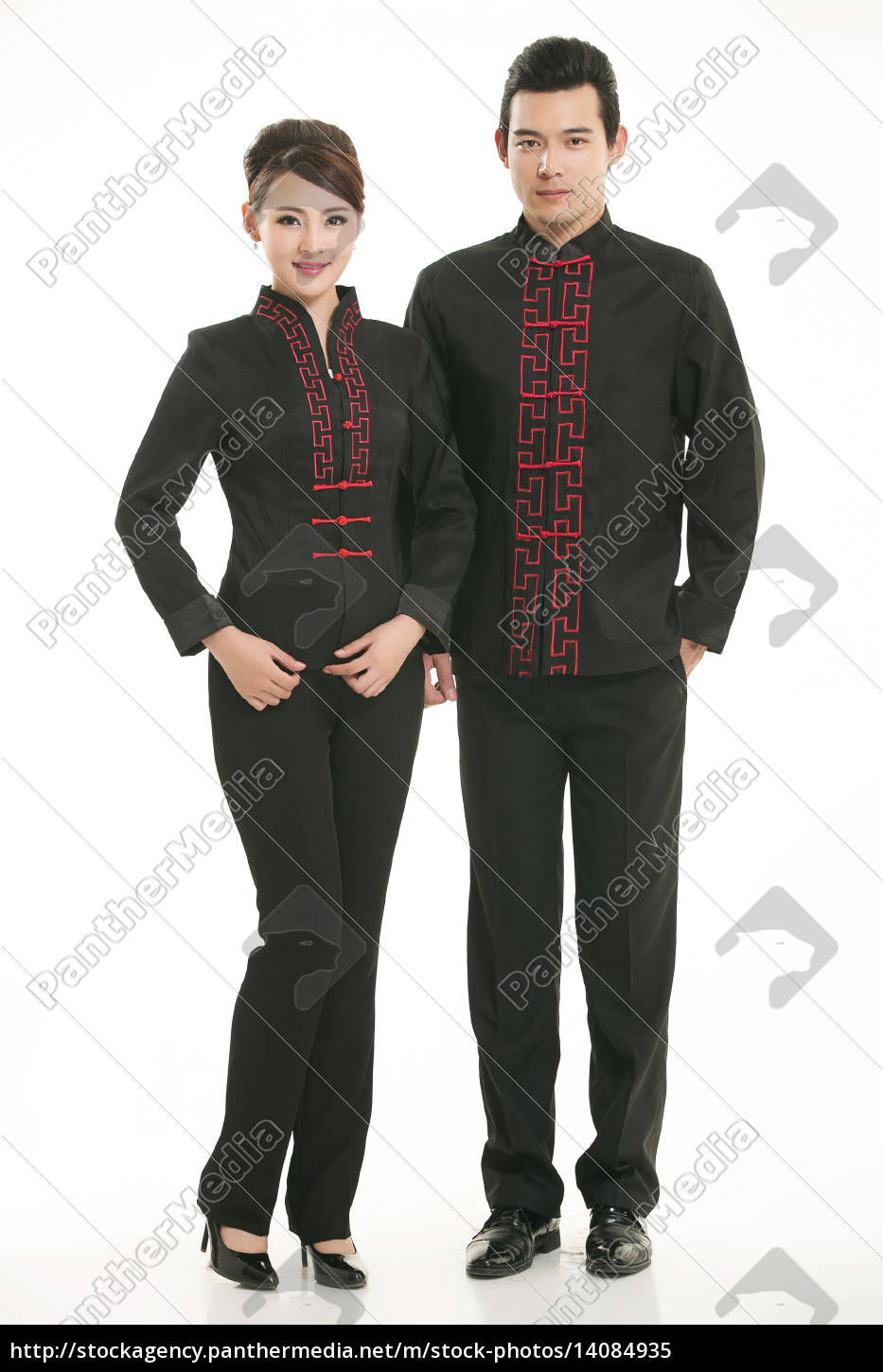 service staff, cotton wadded short gown, cotton wadded undercoat, cottonpadded jacket, greet guests, traditional chinese garments - 14084935