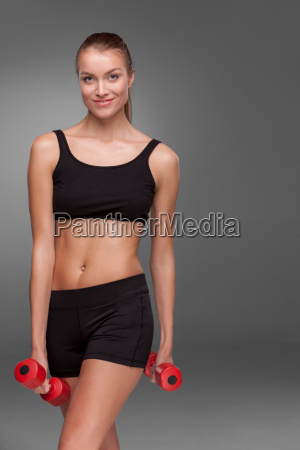 sporty, woman, doing, aerobic, exercise - 14084051