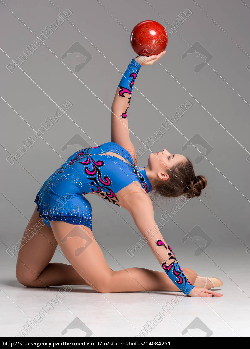 teenager, doing, gymnastics, exercises, with, red - 14084251