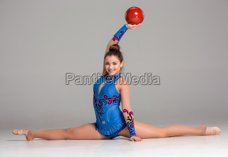 teenager, doing, gymnastics, exercises, with, red - 14084257