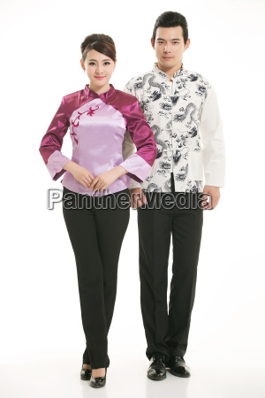 wearing, chinese, clothing, waiter, in, front - 14084879