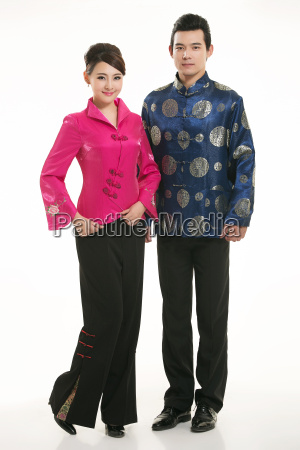 wearing, chinese, clothing, waiter, in, front - 14084929