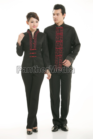 wearing, chinese, clothing, waiter, in, front - 14084947