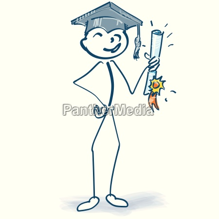 stick figure with graduation and finally