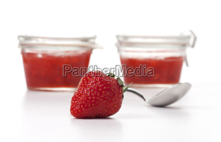strawberryspoon and jam on white