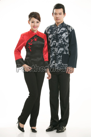 wearing, chinese, clothing, waiter, in, front - 14085023