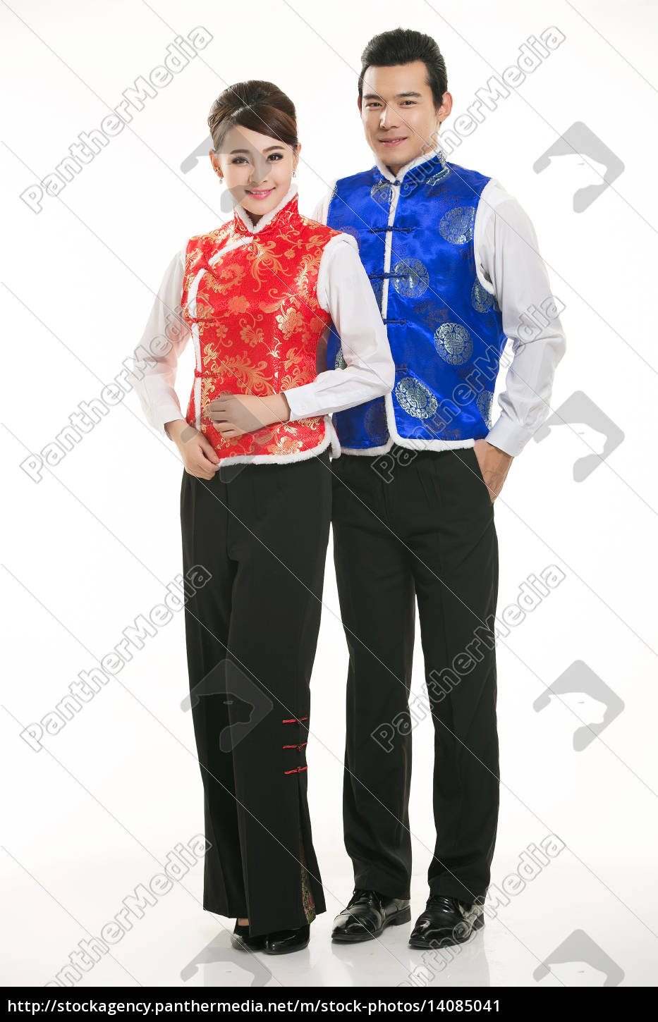 wearing, chinese, clothing, waiter, in, front - 14085041