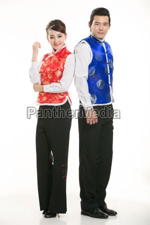 wearing, chinese, clothing, waiter, in, front - 14085051