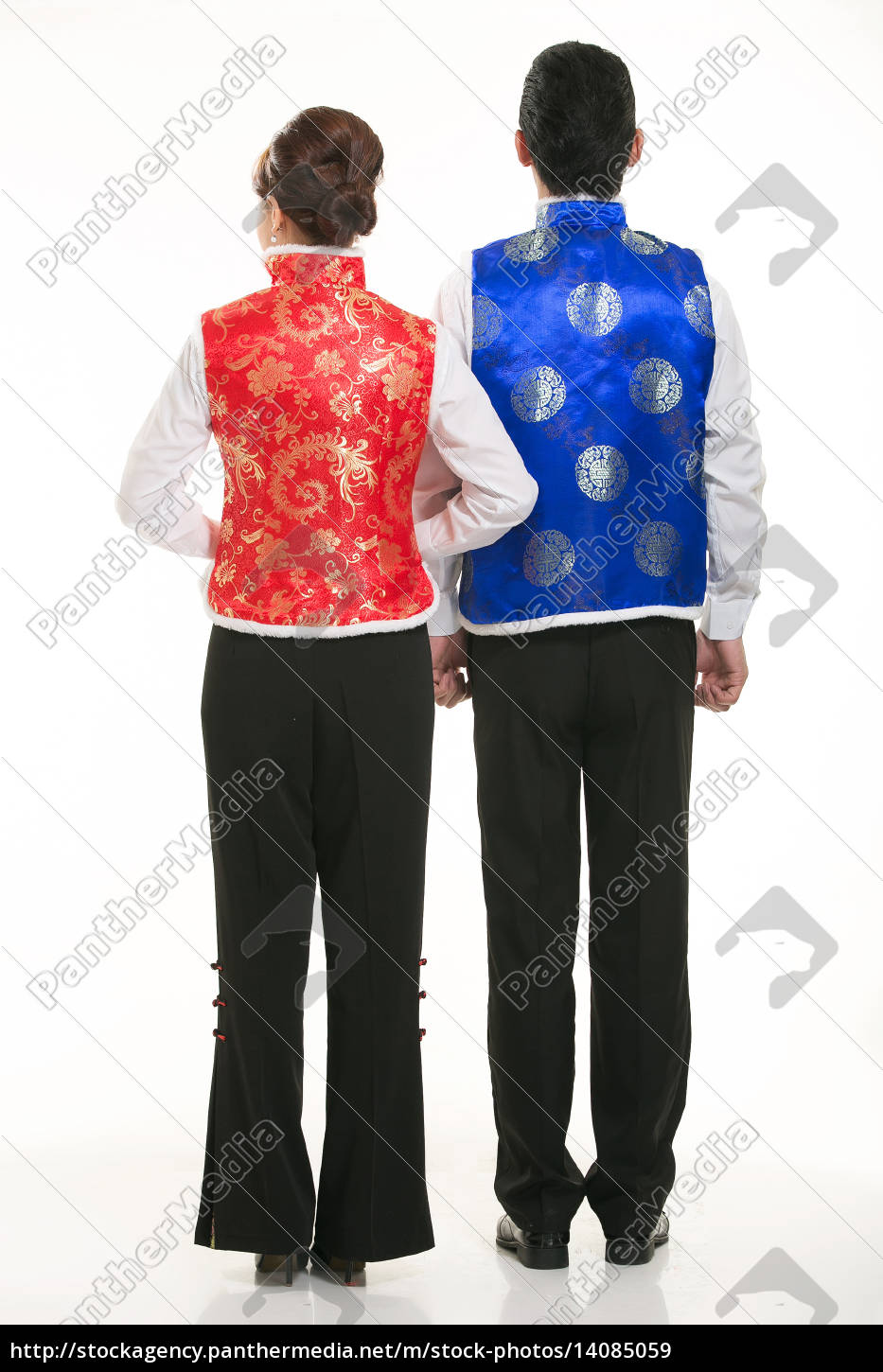 wearing, chinese, clothing, waiter, in, front - 14085059