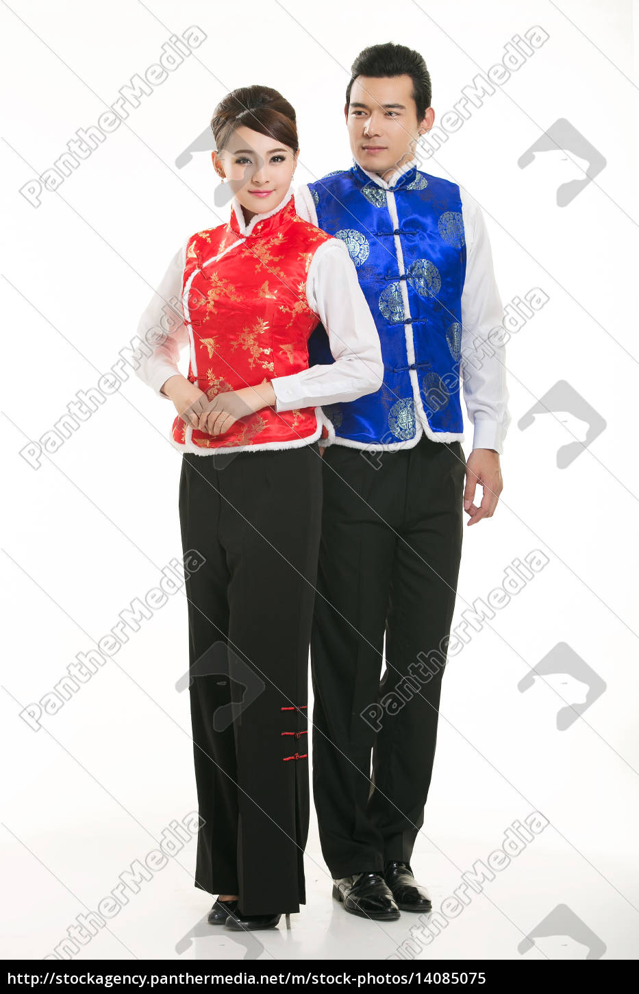 wearing, chinese, clothing, waiter, in, front - 14085075