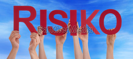 people hands holding straight word risiko