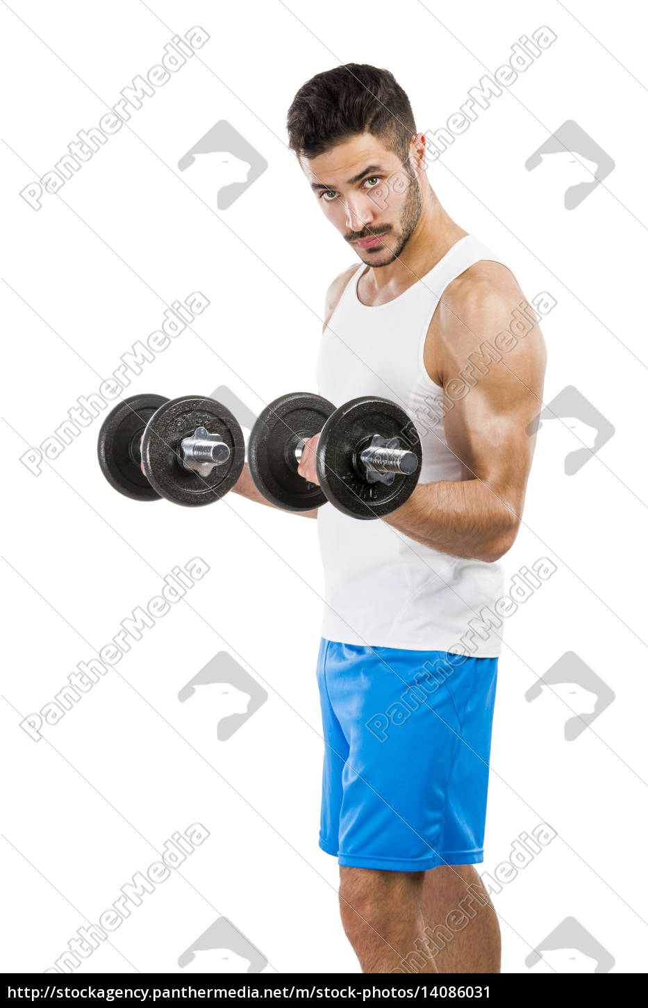athletic, man, lifting, weights - 14086031