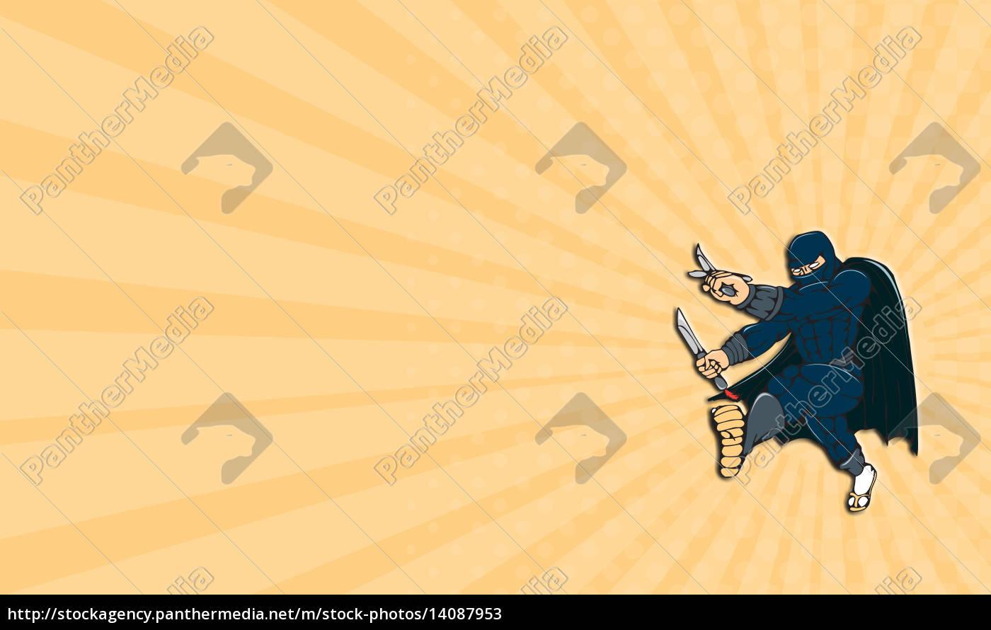 business, card, ninja, masked, warrior, kicking - 14087953