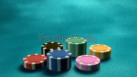 casino, chips, low, angle, blue, table - 14087853