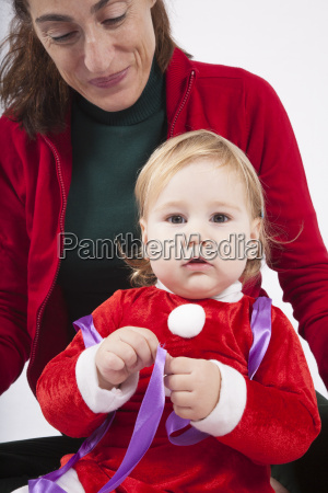 santa claus baby with mother looking