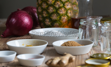 onion, pineapple, chutney, ingredients, and, preparation - 14089785