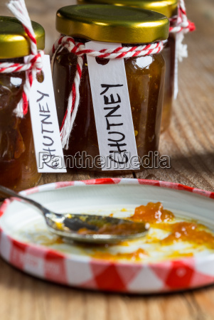 onion, pineapple, chutney, on, rustic, wood - 14089777