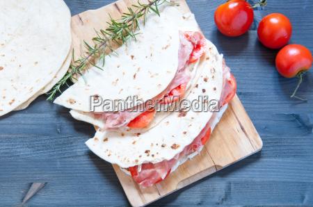 original, piadina, with, ham, mozzarella, and - 14089937