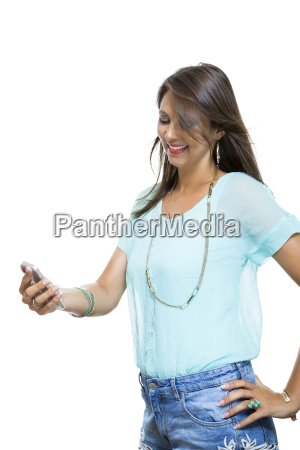 young attractive brunette woman with smartphone