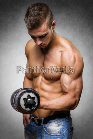 athlete, with, dumbbell - 14090877