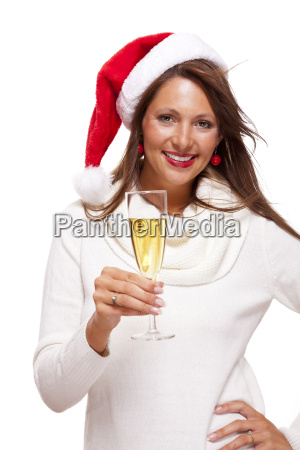 attractive, woman, with, red, santa, claus - 14090597