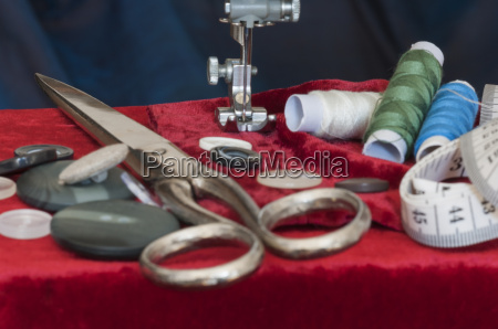 sewing, machine, with, textiles - 14090811