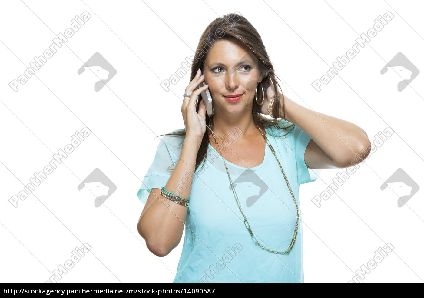 young, attractive, brunette, woman, with, mobile - 14090587