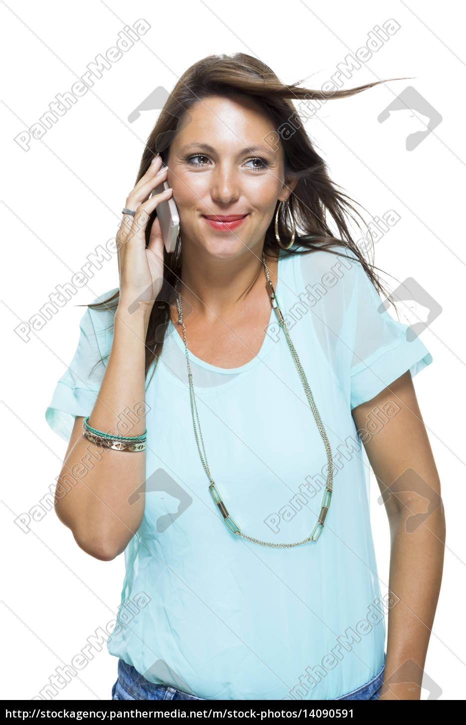 young, attractive, brunette, woman, with, mobile - 14090591