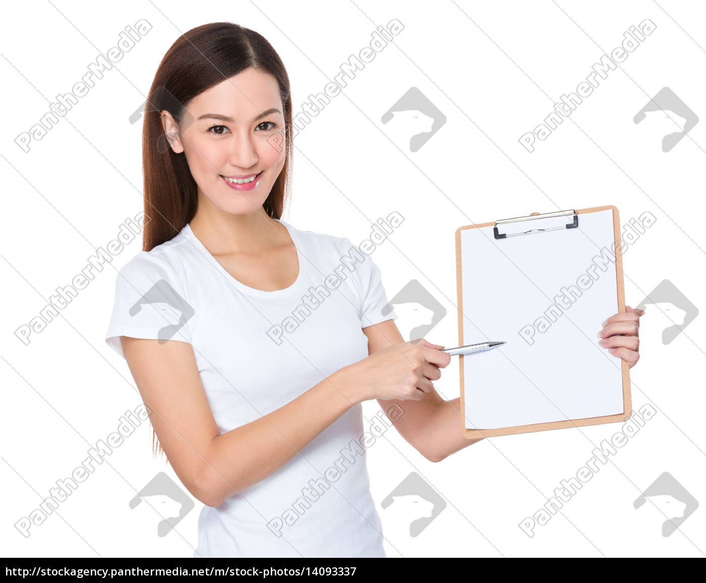 asian, woman, pen, point, to, clipboard - 14093337