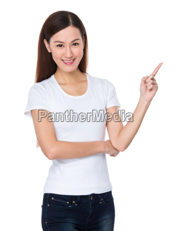 asian, woman, with, finger, point, up - 14093331
