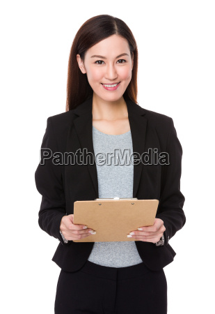 businesswoman, hold, with, clipboard - 14093389