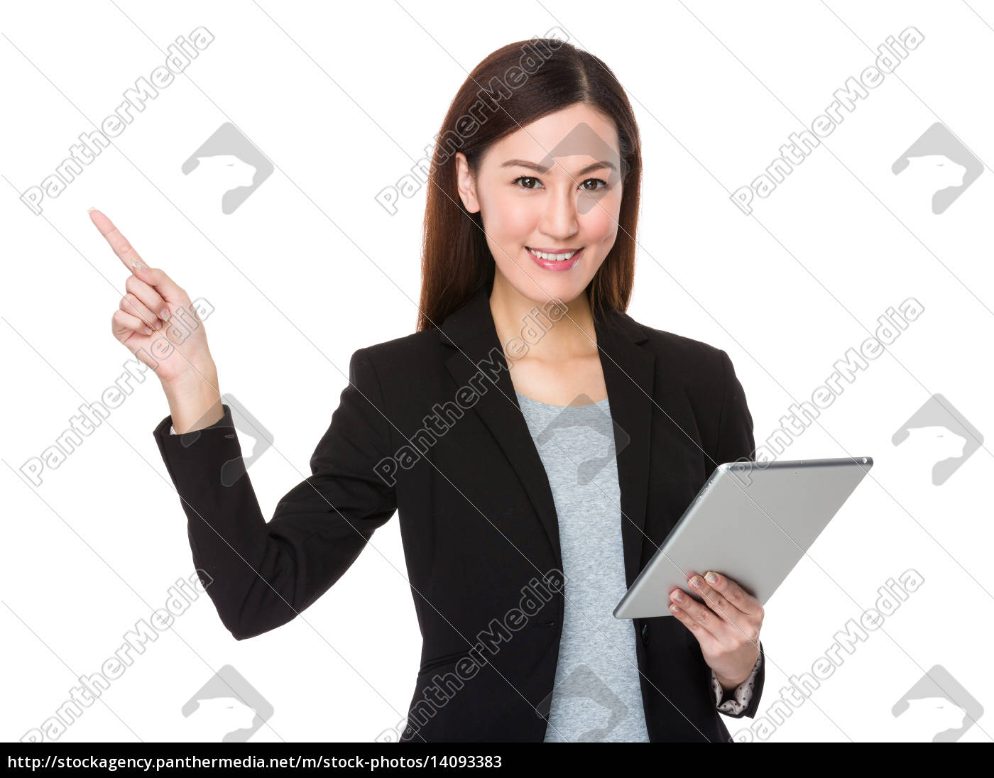 businesswoman, hold, with, tablet, and, finger - 14093383