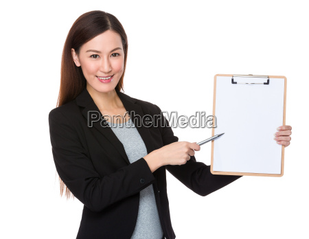 businesswoman, pen, point, to, clipboard - 14093375