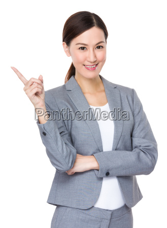 businesswoman, with, finger, point, up - 14093451