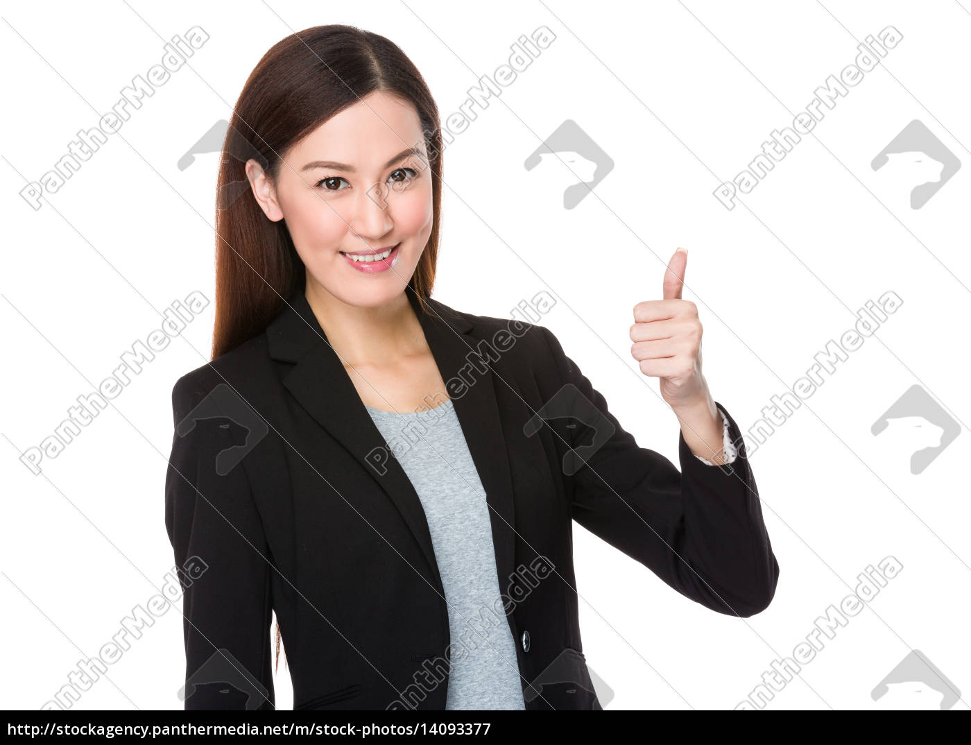 businesswoman, with, thumb, up - 14093377