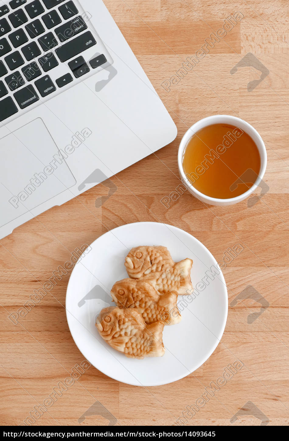 computer, pc, with, japanese, snack, and - 14093645