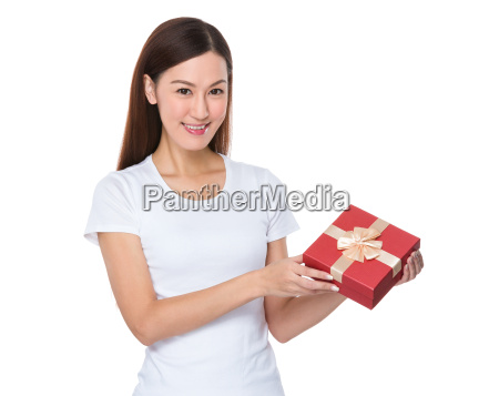 woman, hold, with, giftbox - 14093359