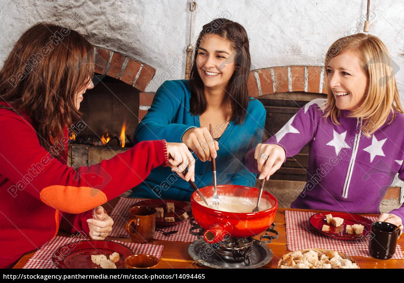 friends, having, fondue, dinner - 14094465