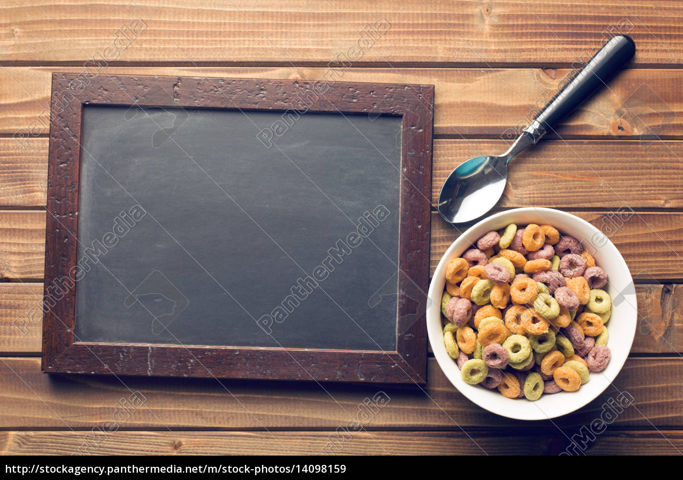 chalkboard, and, colorful, cereal, rings, in - 14098159