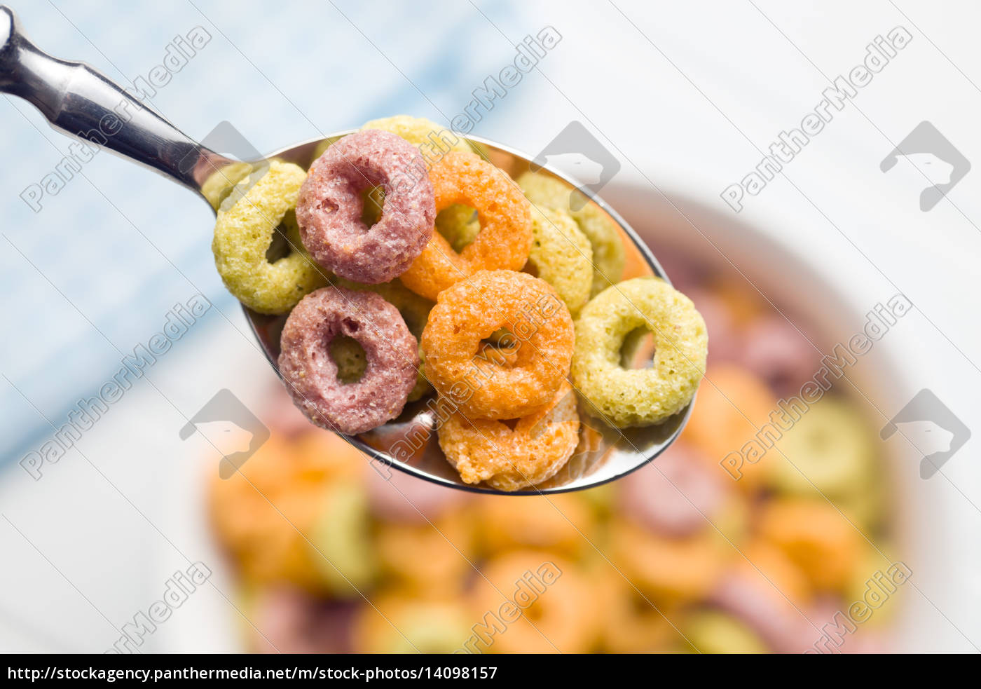 colorful, cereal, rings, in, spoon - 14098157