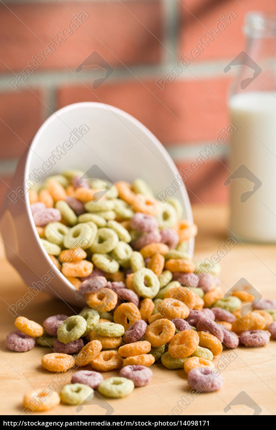 colorful, cereal, rings, on, kitchen, table - 14098171