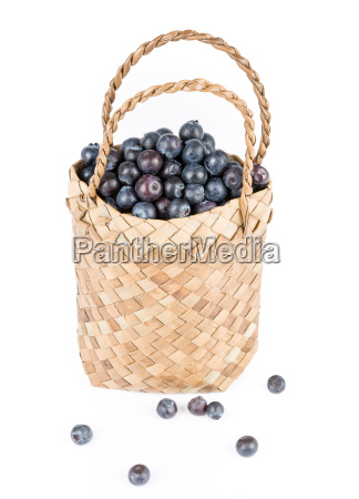 wicker, basket, with, blueberries, isolate, on - 14099441