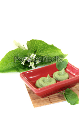 fresh spicy wasabi with leaf and