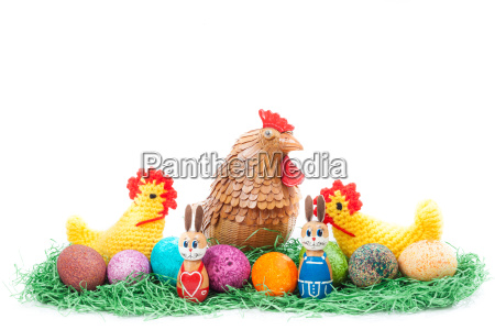 colorful, easter, nest, with, chick, , hen - 14100175