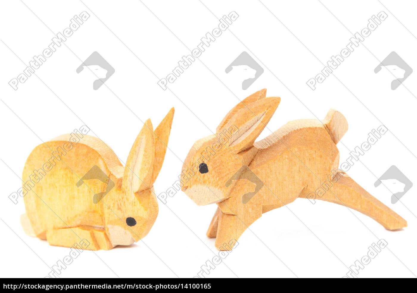 handmade, carved, easter, wooden, bunnies, isolated - 14100165